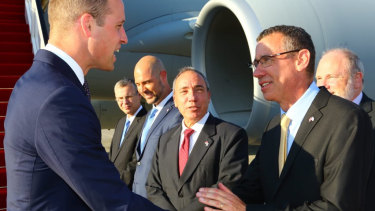 Israel's Australian-born ambassador to Britain, Mark Regev, greets Prince William on his recent trip to Israel.
