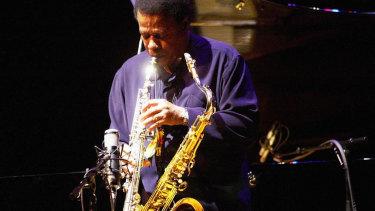 Jazz saxophonist Wayne Shorter leads his quartet on tenor saxophone photographed at Hamer Hall. May 13, 2005.