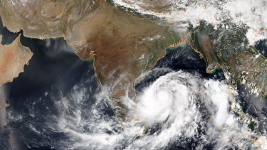 A satellite image of Cyclone Fani in the Bay of Bengal on Wednesday.