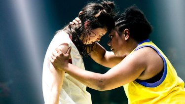Lauren Langlois and Ghenoa Gela in You Animal, You.
