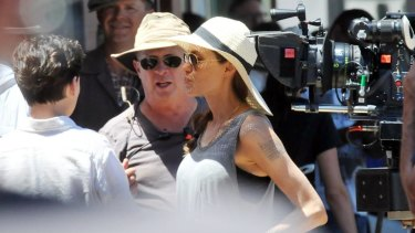 Angelina Jolie on the set of Unbroken, which she made in Australia.