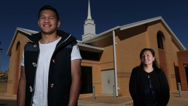 Watene-Zelezniak with his mother, Kara Shelley, at their Mormon church, Minchinbury Church of Jesus Christ, in 2014.