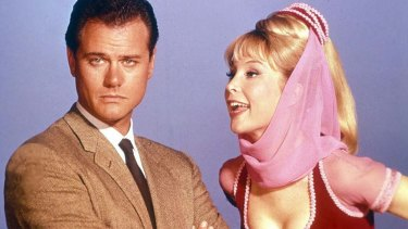 Barbara Eden as Jeannie, with Larry Hagman.