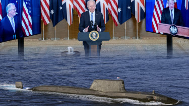 Scott Morrison joins US President Joe Biden and UK Prime Minister Boris Johnson to announce a pact between the three nations that will see a fleet of nuclear-powered submarines built in Adelaide.