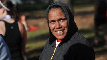 Cathy Freeman photographed at the Melbourne Marathon.
