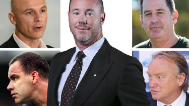 Cain Liddle (top left), Greg Williams, Luke Sayers (centre), Ross Lyon, and Brian Cook (bottom right) all loom as key figures in Carlton's game of thrones.