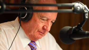 Talkback host Alan Jones announcing his resignation on Tuesday.