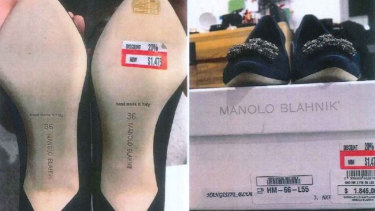 A customer's photo of allegedly counterfeit Manolo Blahnik heels, tendered in the Federal Court.