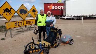 Shane Stroud and his support crew - dad Garry - during their epic trip across Australia.