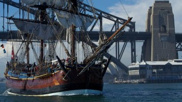 The replica of Captain Cook's ship HM Bark Endeavour.