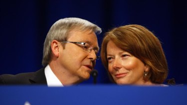 Happier times ... then PM Kevin Rudd and deputy Julia Gillard at the ALP national conference in July 2009.