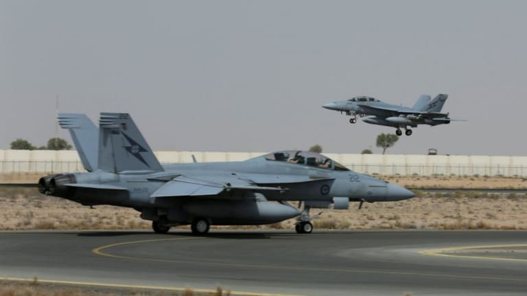 Up to six of the Australian Super Hornet fighters will be in Canberra on Monday.