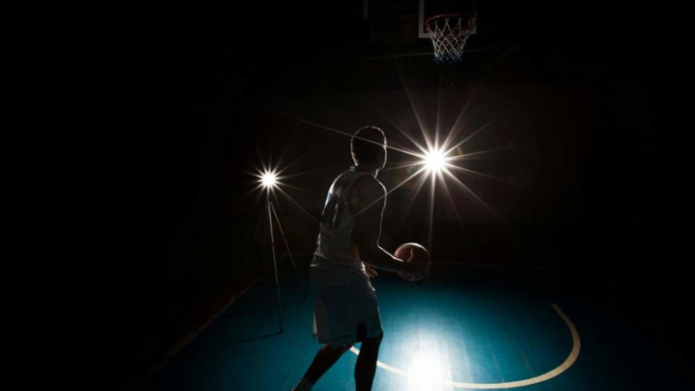 A row of lights went out at Belconnen Basketball Stadium.