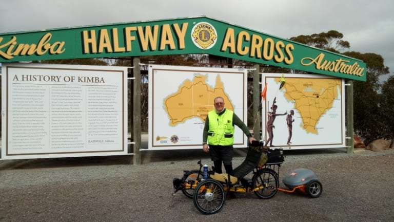 Canberra man Shane Stroud at the mid-way point across the continent at Kimba in South Australia.