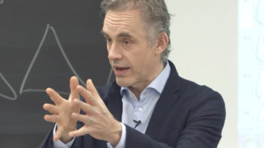 Jordan Peterson giving a lecture at the University of Toronto.