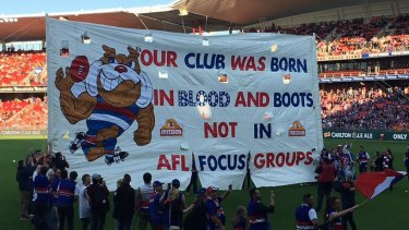 The 2016 banner that ignited a rivalry between the Giants and the Bulldogs.