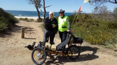 We did it: Garry Stroud and son Shane at the finishing point at Moruya.