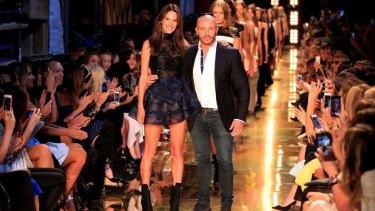 Supermodel Alessandra Ambrosio closing the Alex Perry show in 2014.