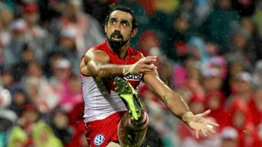 Adam Goodes on the AFL field.