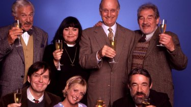 John Bluthal (left with bow tie) as Frank Pickle in The Vicar of Dibley.