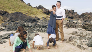 Independent candidate Rob Oakeshott with his family.