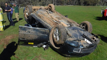 Ms Linton's car rolled two and a half times in a paddock.