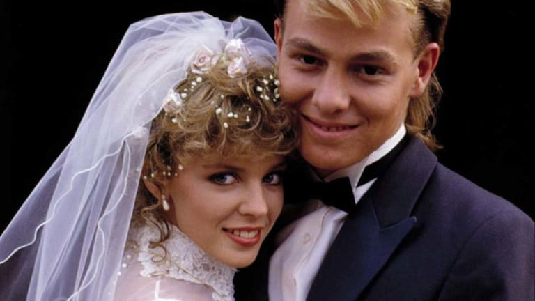 Kylie Minogue with Jason Donovan in Neighbours.