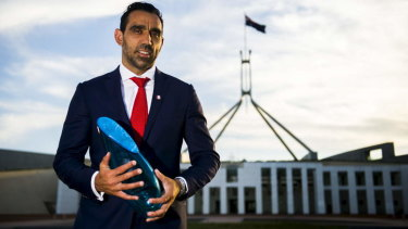 Adam Goodes, accepting has award as Australian of the year in 2014.