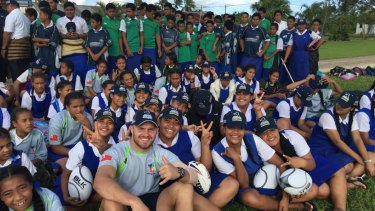 Lachlan McCaffrey collected gear from the Brumbies and teammates to send to Tonga.