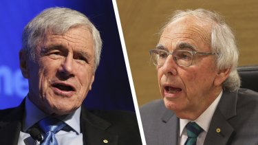 Seven West Media chairman Kerry Stokes and Perth Casino Royal Commission lead commissioner Neville Owen.