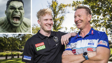 North Melbourne coach David Noble, his Collingwood son John ... and the Hulk.