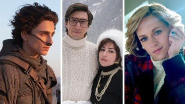 From left: Timothee Chalamet in Dune, Adam Driver and Lady Gaga in House of Gucci and Kristen Stewart as Princess Diana in Spencer.