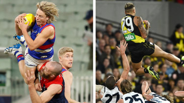 Top AFL marks: Cody Weightman and Shai Bolton.