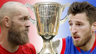 Max Gawn and Marcus Bontempelli face off index image for the 2021 AFL Grand Final.