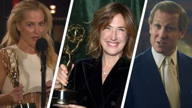 Emmys success for The Crown (From left): Gillian Anderson, Jessica Hobbs and Tobias Menzies.