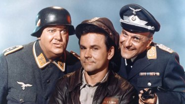 Col Hogan and Sergeant Schultz from TV show Hogan's Heroes.