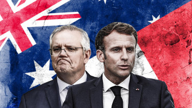An illustration of Morrison and Macron.