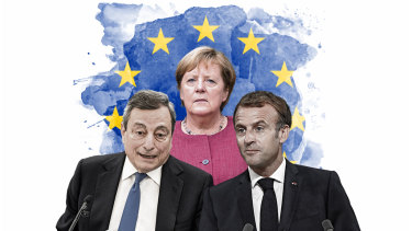 Angela Merkel and the men who would take her place as leader of Europe, Italian Prime Minister Mario Draghi and French President Emmanuel Macron.