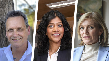 Crossbenchers (from left) Andy Meddick, Samantha Ratnam and Fiona Patten have been negotiating with the state government.