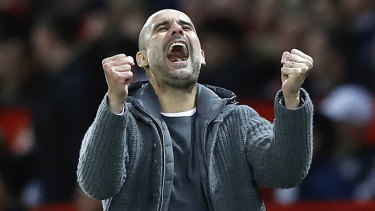 Manchester City manager Pep Guardiola's enjoys the moment.