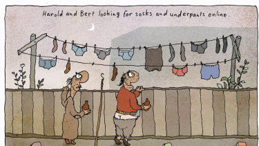 Harold and Bert looking for socks and underpants online. Illustration: Michael Leunig