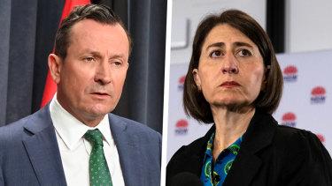 WA Premier Mark McGowan and NSW Premier Gladys Berejiklian.