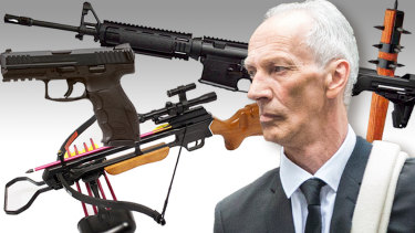 A police raid on the home of accused toxic waste dumper Graham Leslie White uncovered dozens of guns, many of them loaded.