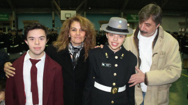 Pierina Sosa with her son Gonzalo, daughter Romina and their father Rodolfo, before he died from a stroke.
