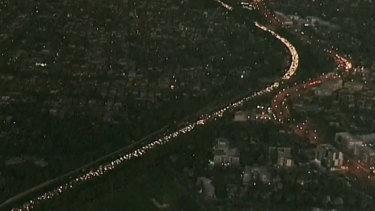 Traffic was queued for kilometres on Thursday morning after a crash on the M4 at Mays Hill in Sydney's west.