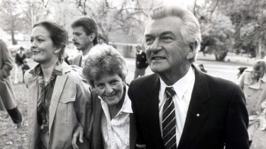 Rosslyn, Hazel and Bob Hawke leave a press conference in 1987.