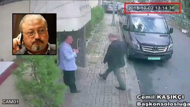 CCTV footage claims to show Saudi journalist Jamal Khashoggi entering the Saudi consulate in Istanbul on October 2, where Turk officials say he was killed.
