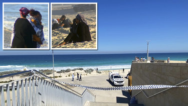 Distressed loved ones of the teenager missing off Scarborough beach watch on as the search continues.