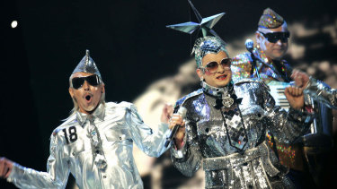 Ukraine's Verka Serduchka performs the during the final of the very camp Eurovision Song Contest in 2007.