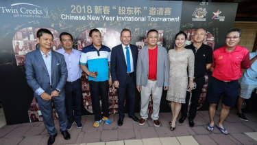 Tommy Jiang (2nd left), Tony Abbott (4th from left) and Jack Lam (5th from left) at the Twin Creeks Golf & Country Club Chinese New Year Invitational Tournament in 2018.